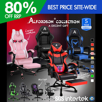 AU179.90 • Buy ALFORDSON Gaming Office Chair Racing Executive Footrest Computer Seat PU Leather