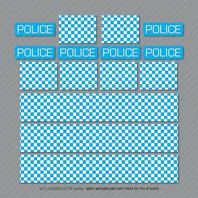 Police Chequered Decals Toy Car Stripes Mountain Bike Bicycle Stickers  • 1.95£