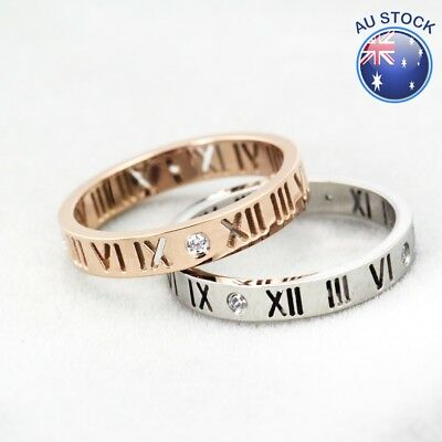AU9.60 • Buy NEW 18K White / Rose Gold GF Roman Numerals Crystal Wedding Engagement Band Ring