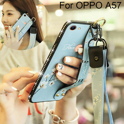 AU15.79 • Buy Neck Strap Diamond Silicone Handle Stand Case Cover Fr OPPO A73/A83/A59/A79/A57