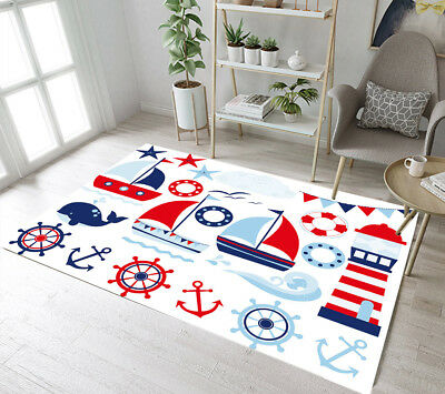 Nautical Marine Design Lifebuoy Anchor Area Rugs Bedroom Living Room Floor Mat • 10.12£