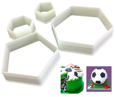 Hexagon & Pentagon Cookie Cutters Football Shape Biscuit Pastry Cake Bake 4 Pcs  • 3.95£