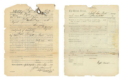 Pair Of 1863 Civil War Discharge Papers For Private Joseph H. Snow, 38th Mass • 99.99$