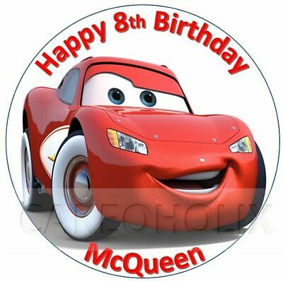 Cars Lightning McQueen Edible Birthday Cake Topper With Personalised Message • 4.95£