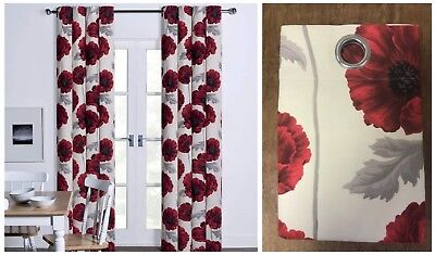 Red Poppy Floral Printed Eyelet Ring Top Cotton Fully Lined Curtains Red Flower • 22.99£