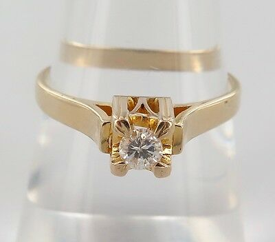 AU699 • Buy .14ct Yellow Gold & Solitaire Diamond Ring Val $2190