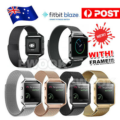AU14.95 • Buy Milanese Stainless Steel Magnetic Loop Wrist Band Strap + Frame For Fitbit Blaze