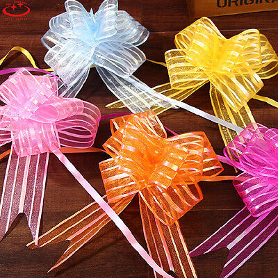 50mm 10Pcs Large Organza Ribbon Pull Bows DIY Wedding Party Decoration Gift Wrap • 1.74£
