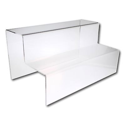 £9.40 • Buy 2 Step Tier Large Wide Clear Acrylic Plastic Retail Riser Counter Display Stands