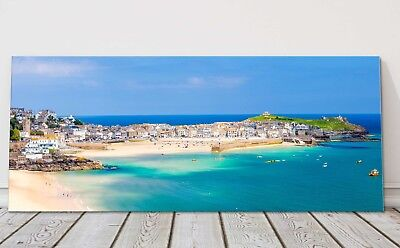 St Ives Harbour Panoramic Canvas Print Cornwall Framed Picture • 79.95£