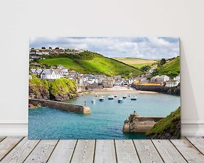 £17.95 • Buy Port Isaac Harbour Cornwall Canvas Print Framed Picture Wall Art Doc Martin