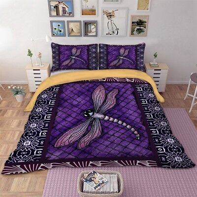 AU35.99 • Buy Purple Dragonfly Animal Doona Duvet Quilt Cover Set Single/Double/Queen/King Bed