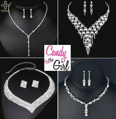 Stunning Crystal Diamante Evening Wedding Necklace And Earring Jewellery Sets • 9.99£