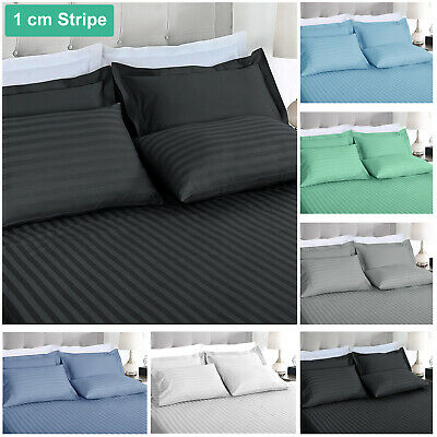 AU38.80 • Buy 1000TC Striped Ultra Soft Microfibre Fitted Flat Sheet Set All Size Pillowcase