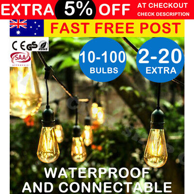 AU68.50 • Buy 10-100PCS Festoon String Lights Wedding Party Christmas Vintage Retro In/Outdoor