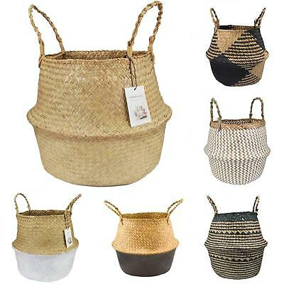 Seagrass Belly Basket Storage Plant Pot Foldable Nursery Laundry Bag Room Strict • 3.47£