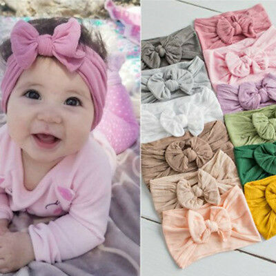 $0.99 • Buy Toddler Girls Baby Turban Solid Headband Hair Band Bow Accessories Headwear