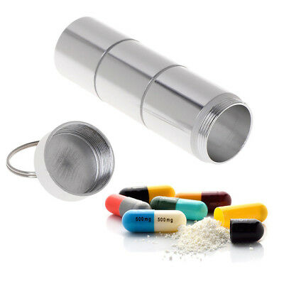 $4.01 • Buy Pill Box Case Bottle Holder Alloy Waterproof Container Keychain Medicine Capsule