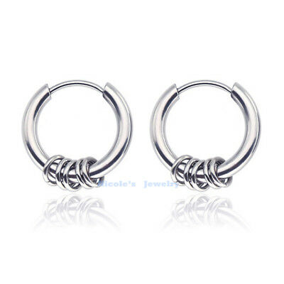 AU7.20 • Buy 316L Surgical Steel Hinged Earrings Clicker Sleeper Hoop Huggies Men Unisex