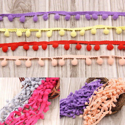 20yds 10mm Jumbo Ball Pom Pom Bobble Trim Hat Braid Fringe Ribbon Edging Crafts • 3.45£