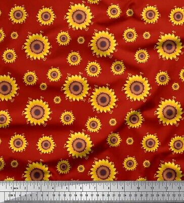 Soimoi Fabric Sunflower Floral Decor Fabric Printed Meter-FL-1478C • 7.60£
