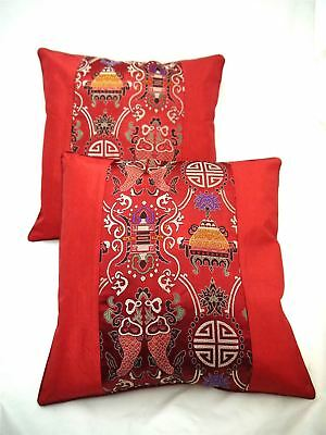 Pair Of Red Chinese Oriental Silk Cushion Covers 16 X16  • 8.95£