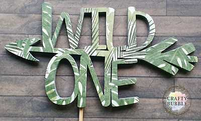 £5.50 • Buy 'WILD ONE' WOODEN-NOT CARD Birthday Cake Topper HAND MADE LEAF PRINT TROPICAL