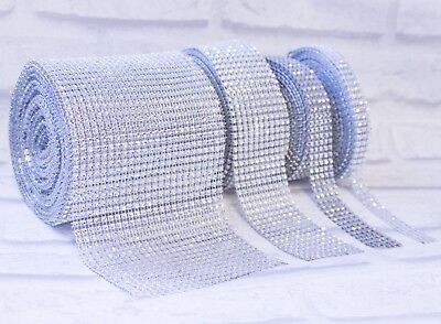 Diamante Effect Silver Ribbon Trim For Cake Bridal Wedding Craft 3 5 10 24 Rows • 1.59£