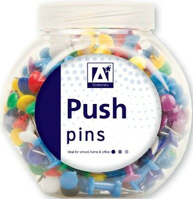 £2.19 • Buy 100 X PUSH PIN ASSORTED PACK MULTI-COLOURED PUSH DRAWING PINS NOTICE CORK IN POT