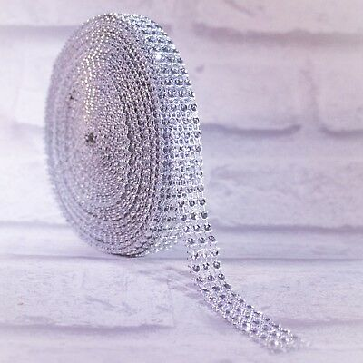 Diamante Effect Silver Ribbon Trim For Cake Bridal Wedding Craft 3 Rows 15mm  • 2.77£