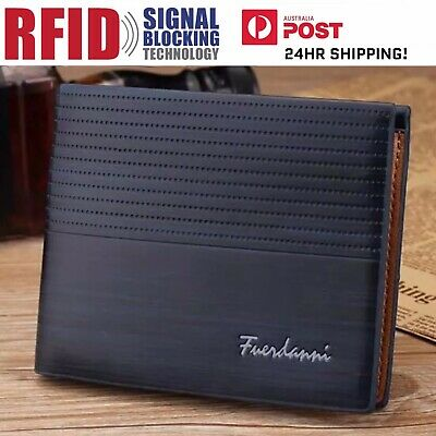AU8.66 • Buy Mens Navy Blue Leather RFID Blocking Anti Theft Wallet ! AU STOCK !