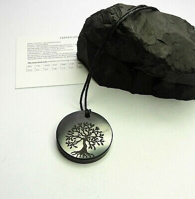 TREE Of LIFE Engraved Shungite Pendant Necklace Authentic Natural Stone • 8.98£
