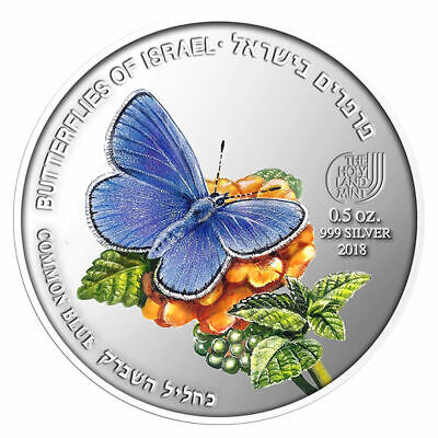 1/2 Oz .999 Coin Silver - Butterflies Of Israel - Common Blue Polyommatus Icarus • 79$
