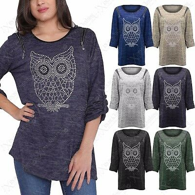 New Ladies Plus Size Stud Owl Print Jumper Womens Marl Knit Zip Big Sizes Top • 9.99£