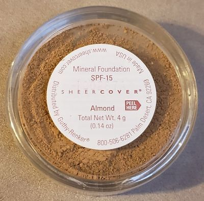 £35.45 • Buy Sheer Cover ALMOND Mineral FOUNDATION SPF-15 LARGE FULL SIZE 4g NEW & SEALED!