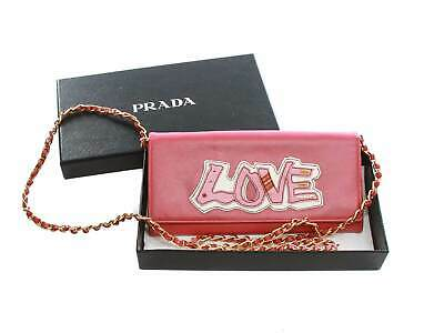 Authentic Prada Saffiano Peonia Pink Love Chain Wallet • 308.03£