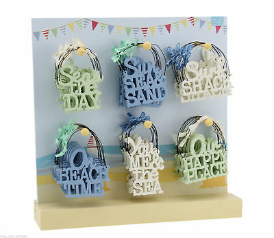 SMALL Beach Theme Seaside Signs Plaque Gift Tag Wooden MINI Nautical SURF SHACK • 2.24£