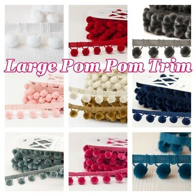 Large Pom Pom Trim Luxury Velvet Feel 15mm Balls 22 Colours Overall Width 30mm • 21.90£