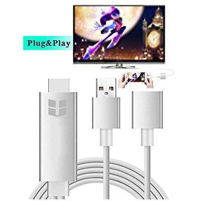 8 Pin For Iphone Lightning To HDMI HDTV AV Cable Adapter For IPhone 6 6S 5S 5 UK • 14.69£