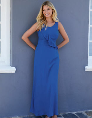 AU53.32 • Buy Pd752 Bravissimo Clothing Ruffle Front Maxi Dress In Blue & Pink Rrp£70.00 (101)