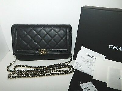 25d6a5282dea CHANEL BOY WALLET-ON-CHAIN Black Quilted Caviar Clutch Crossbody Bag  Authentic • 2,598.00