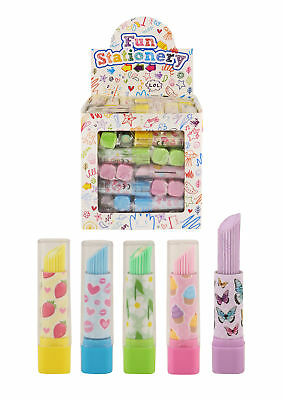 Lipstick Shaped Erasers Rubbers Party Bag  Eraser Novelty Choose Amount! • 1.99£