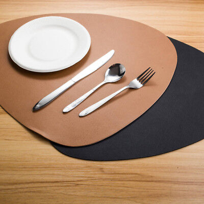 Set Of2 4 6 8 Faux Leather Placemats Dining Table Place Settings Mats Black Tan  • 7.99£