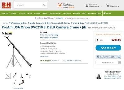 Orion ProAm 8 Ft DSLR Camera Jib Crane • 107.30£