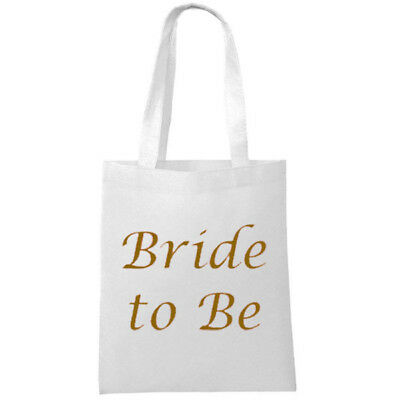 White Bride To Be Tote Bag Gold Writing Hen Party Keepsake Girls Night Out • 3.99£