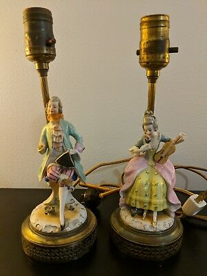 $ CDN192.79 • Buy Pair Of FRENCH STYLE Porcelain FIGURINE BOUDOIR TABLE LAMPS With Shades.