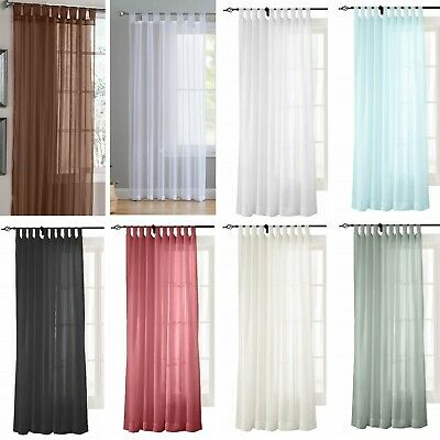 TAB TOP Voile Curtain Panel - Net Voile Curtains - Free Tie Back Included  • 6.75£