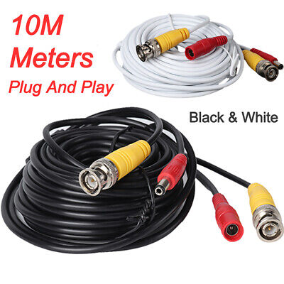 10M BNC DC Power Lead CCTV Security Camera DVR Video Record Extension Cable • 3.29£