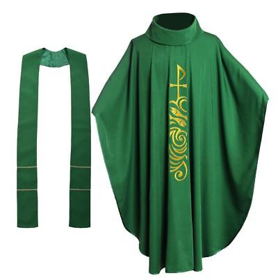 £29.99 • Buy Catholic Church Vestments Chasuble Robe Priest Embroidery Clegy Costume W/Stole