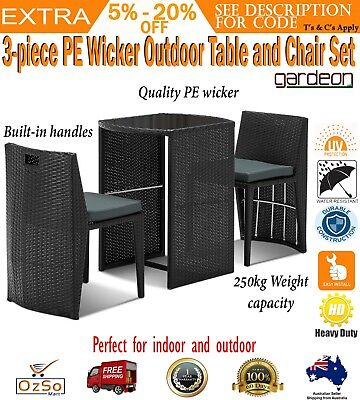AU255.74 • Buy 3 Piece Wicker Rattan Outdoor Setting Lounge Sofa Chair Table Furniture Set New